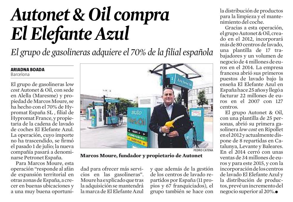 AUTONET&OIL COMPRA EL ELEFANTE AZUL (LA VANGUARDIA, 3 JULIO 2015)