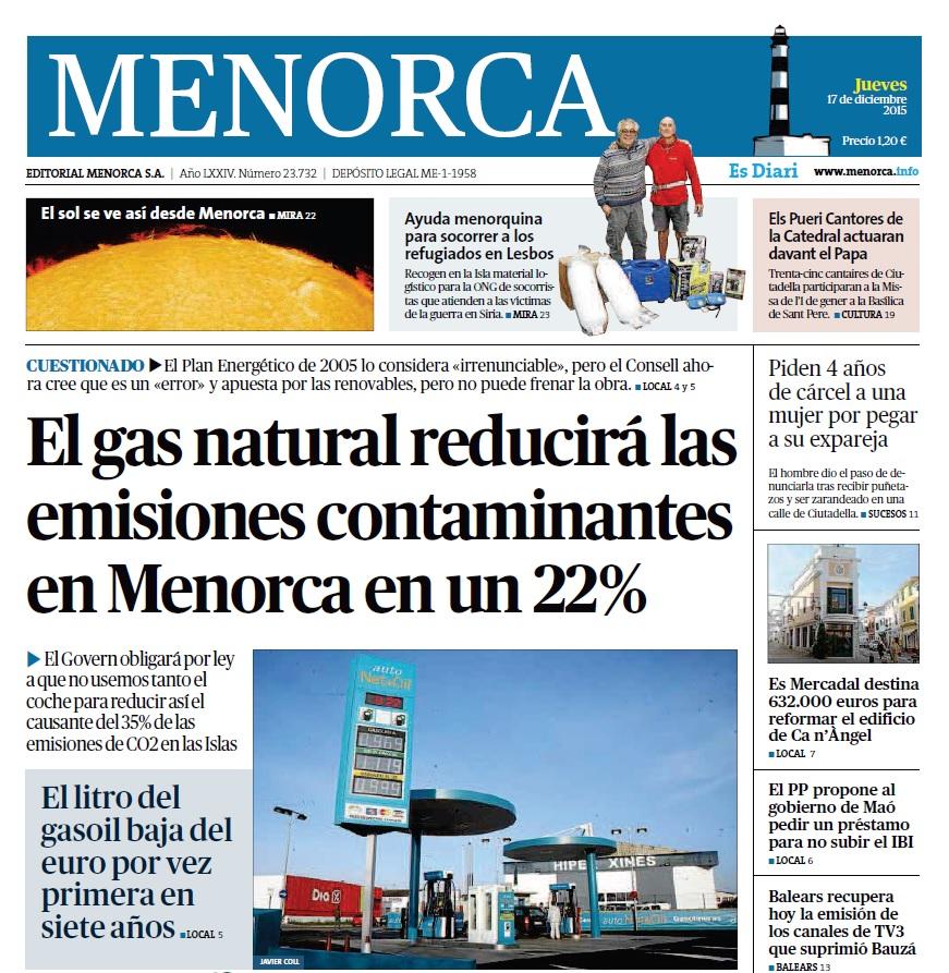 DIARI DE MENORCA (17 DICIEMBRE 2015)